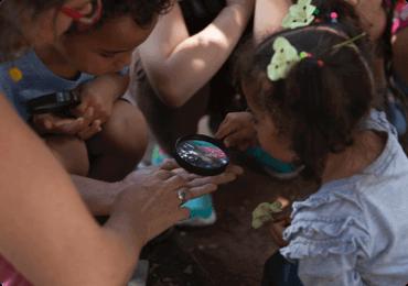Crianças reunidas vendo insetos com uma lupa